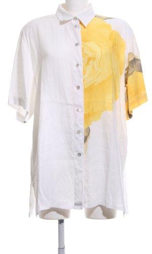 Verse Kurzarm-Bluse weiß-blassgelb Blumenmuster Casual-Look