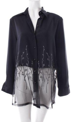 Verse Long-Bluse schwarz-silberfarben Blumenmuster schlichter Stil