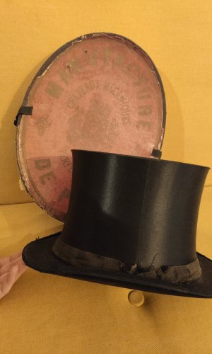 Vintage Klappzylinder / Chapeau Claque inkl. original Hutschachtel
