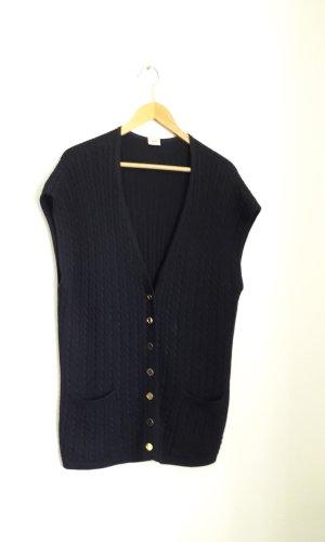Vintage Chaleco de punto largo azul oscuro