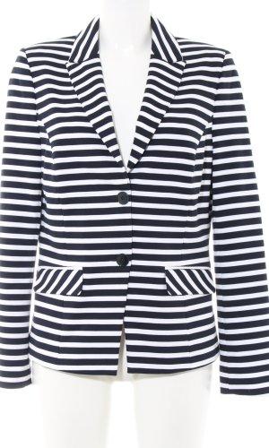 Walbusch Sweatblazer weiß-dunkelblau Streifenmuster Casual-Look
