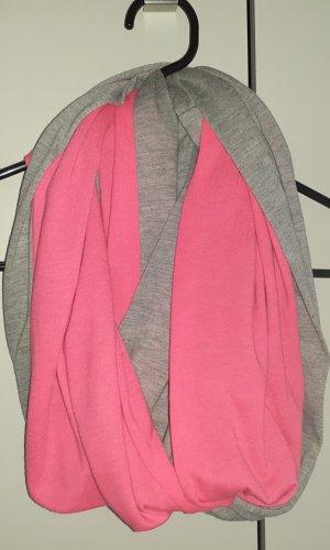 Écharpe ronde gris clair-rose fluo