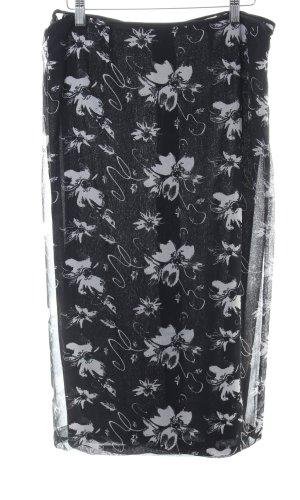 Wikkelrok zwart-lichtgrijs bloemen patroon casual uitstraling