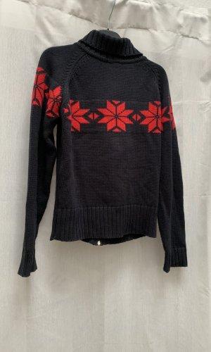 Mogul Cárdigan de estilo noruego azul oscuro-rojo oscuro
