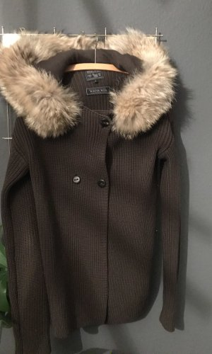 Woolrich Wolljacke /Strickjacke in Khaki mit Fell Kapuze