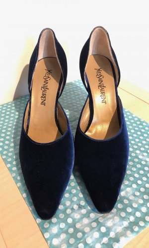 YSL Vintage Samt Heels, Gr. 39,5 - Blau