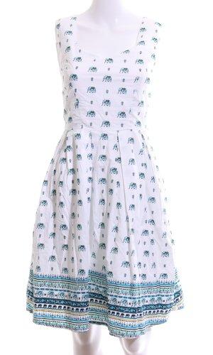 Yumi Robe ballon blanc-turquoise imprimé allover style décontracté
