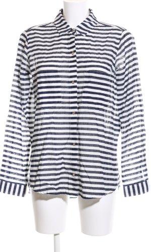 Zara Basic Langarm-Bluse weiß-schwarz Streifenmuster Casual-Look