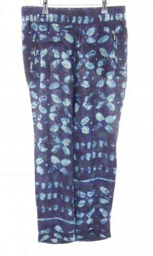 Zara Basic Stoffhose blau-türkis Allover-Druck Casual-Look