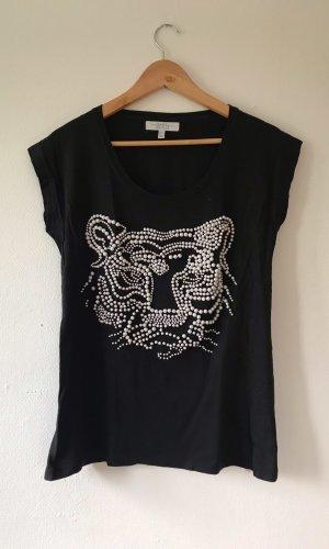 Zara Baumwoll T-shirt mit Perlenverzierung