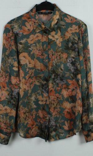 Zara Bluse Gr. L grün rot Blumenmuster (19/11/237)