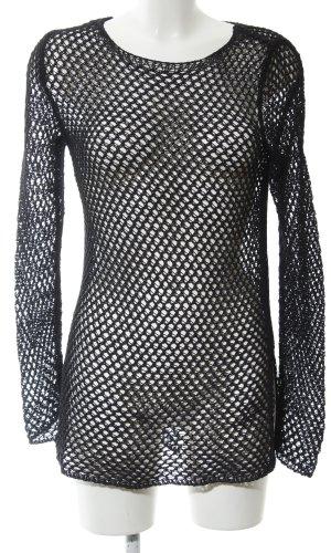Zara Knit Gehaakt shirt zwart casual uitstraling