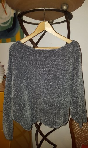 Zara Knit Pullover cropped Chenille grau Gr.S