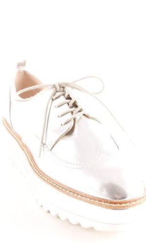 Zara Zapatos estilo Richelieu color plata look casual