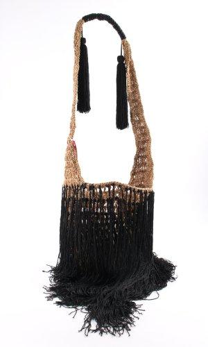 Zara Woman Fringed Bag black-nude extravagant style