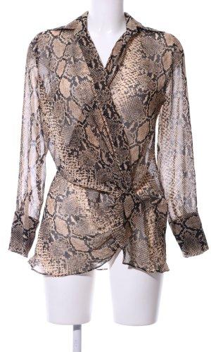 Zara Woman Langarm-Bluse bronzefarben-schwarz Animalmuster Elegant