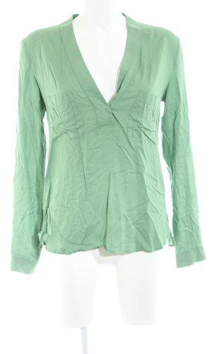 Zara Woman Langarm-Bluse grün Business-Look