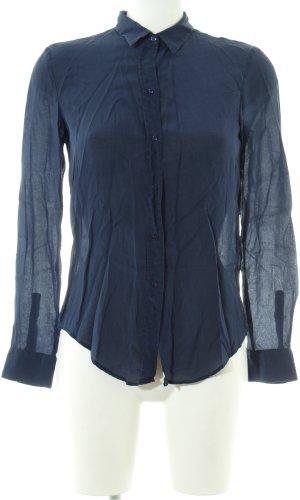 Zara Woman Langarm-Bluse blau Business-Look