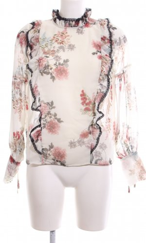 Zara Woman Langarm-Bluse Blumenmuster Business-Look