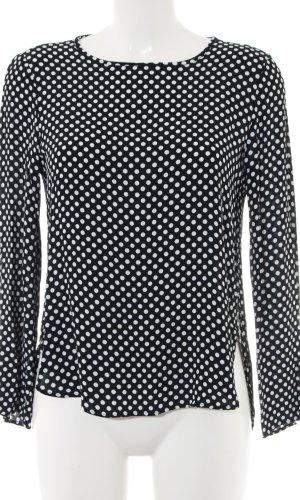 Zara Woman Langarm-Bluse schwarz-weiß Punktemuster Casual-Look