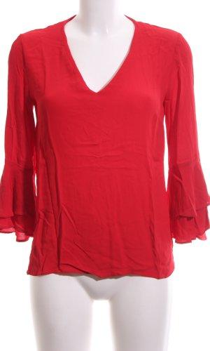 Zara Woman Langarm-Bluse rot Casual-Look