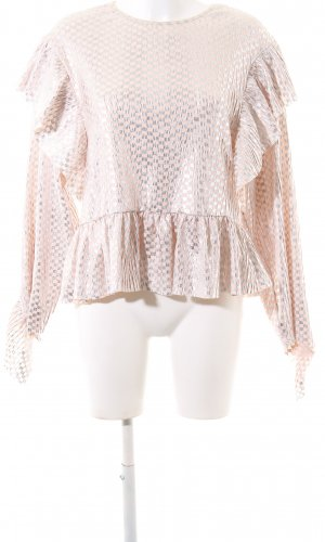 Zara Woman Langarm-Bluse nude-silberfarben grafisches Muster Casual-Look