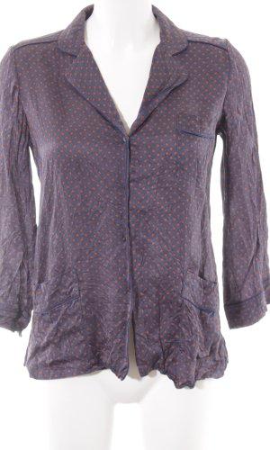 Zara Woman Langarm-Bluse dunkelblau-dunkelorange Punktemuster Business-Look