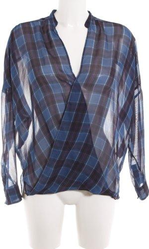 Zara Woman Langarm-Bluse blau-braun Karomuster Elegant