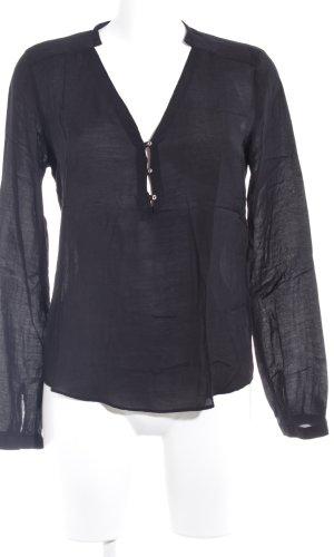 Zara Woman Langarm-Bluse schwarz klassischer Stil
