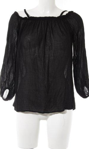 Zara Woman Langarm-Bluse schwarz schlichter Stil