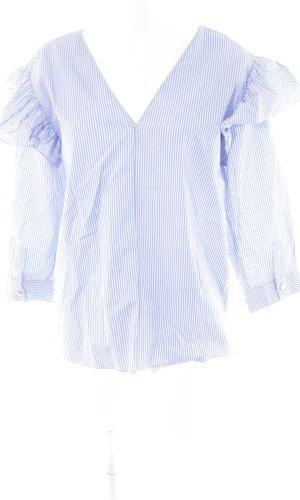 Zara Woman Langarm-Bluse weiß-blau Streifenmuster Casual-Look