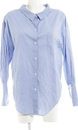 Zara Woman Langarm-Bluse weiß-kornblumenblau Streifenmuster Business-Look