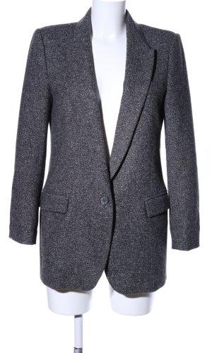 Zara Woman Lange blazer lichtgrijs gestippeld zakelijke stijl