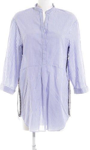Zara Woman Lange blouse blauw-wit gestreept patroon casual uitstraling