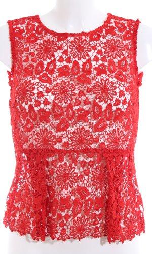 Zara Woman Kanten topje rood bloemenprint elegant