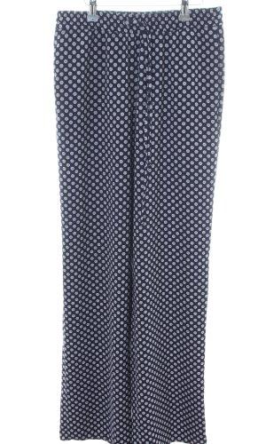 Zara Woman Stoffhose blau-weiß Allover-Druck Casual-Look