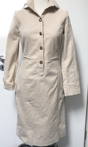 René Lezard Robe chemise blanc cassé-brun coton