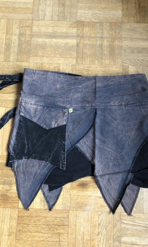 Wikkelrok zwart-grijs Katoen