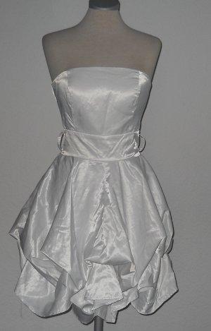 Abendkleid Abiballkleid Tubekleid Kleid kurz weiß gerafft XS 32 34 cute lolita