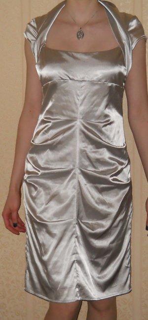 Abendkleid Hochzeit Abiball Etuikleid Satin gerafft Gr. L 40 42 silber metallic