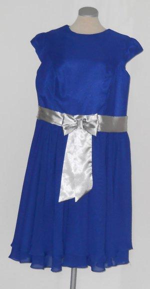 Abiball Abendkleid Retro knielang royal blau XXL Schleife silber Gr. 46
