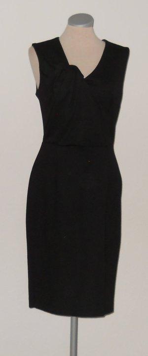 Asos Etuikleid schwarz gerafft Schleife Knoten knielang Kleid Rockabilly Gr. 40