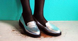 asos halbschuhe loafers silber 39 40 neu pantoletten