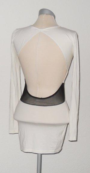 Asos rückenfrei Gr. 36 S UK 8 Minikleid Langarm schwarz weiß cut outs