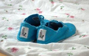 Blaue Damen Stoffschuhe Puma Tekkies Brites Größe 39