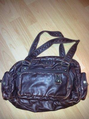 Braune Vintage Tasche mit vielen Fächern