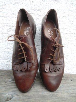Echtleder Schnürschuhe Loafer 80er 90er Granny Oxford Vintage Boots Leder
