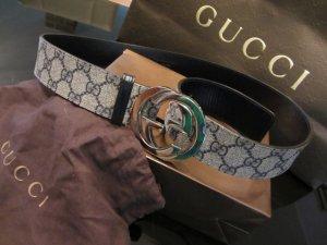 Gucci Leder Gürtel gross 85 32 blau grau