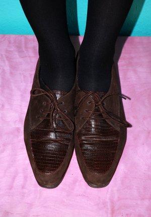 halbschuhe braun vintage mokassins loafers schnürschuhe / carla berotti
