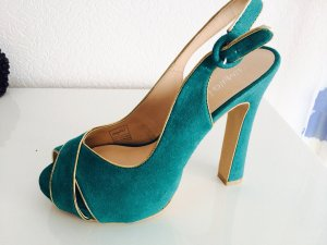High Heels in Samtgrün NEU